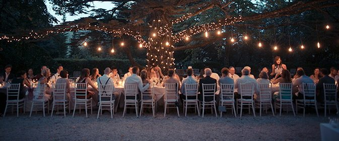 Old Edison bulbs over headtable  Outdoor tree with fairy lights